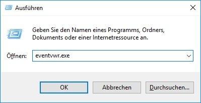 Ereignisanzeige unter Microsoft Windows 10 öffnen