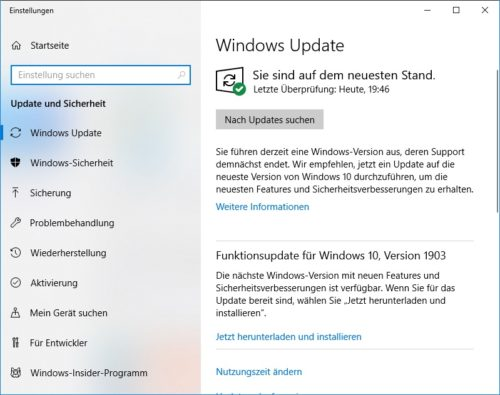 Übersicht Windows Update unter Windows 10