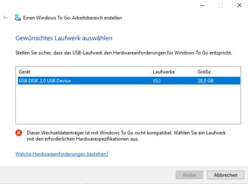 Windows To Go erkennt viele Sticks als nicht geeignet an