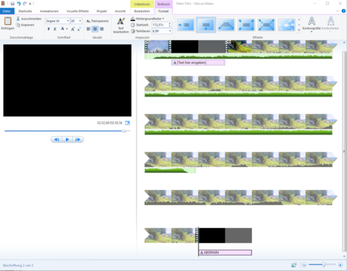 Abspann in Animationen in Windows Movie Maker