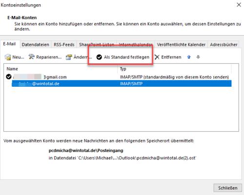 Konto in Outlook als Standard festlegen