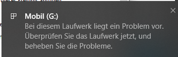 Hinweis von Windows 10