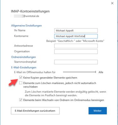 In den IMAP-Kontoeinstellungen können Sie auswählen, ob Kopien gesendeter E-Mails lokal gespeichert werden sollen.