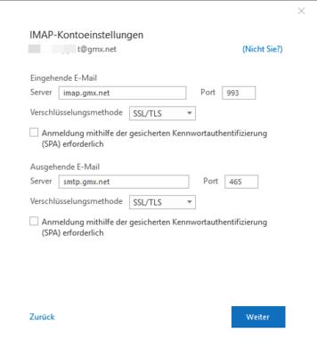 IMAP-Kontoeinstellungen