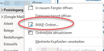 IMAP-Ordner im Kontextmenü eines IMAP-Kontos