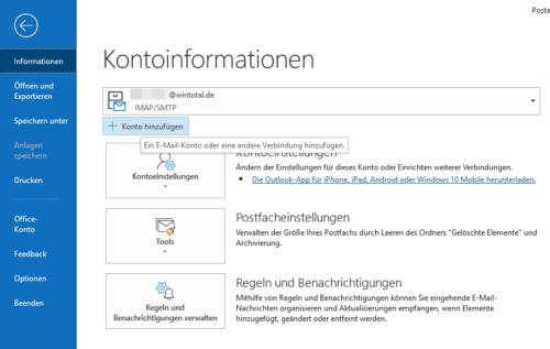E-Mail-Konto unter Outlook einrichten