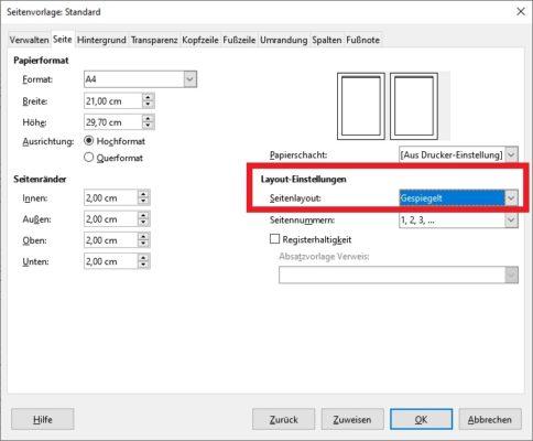 Seitenzahlen in LibreOffice drucken