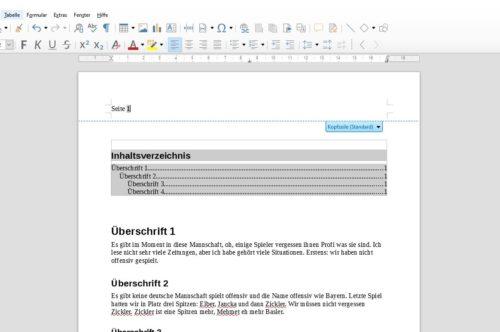 Seitenzahlen oben in LibreOffice einfügen