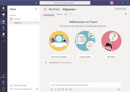 App von Microsoft Teams auf dem Surface