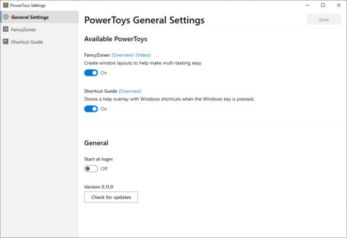 PowerToys - Allgemeine Einstellungen