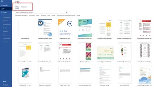 Word-Vorlagen von Microsoft im Menü Neu