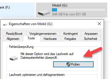 chkdsk können Sie über die Fehlerüberprüfung in Windows starten