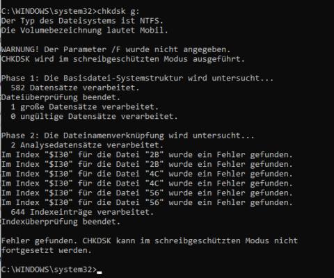chkdsk ohne Parameter prüft nur Datenträger