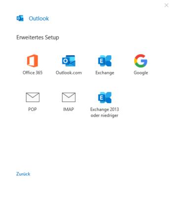 erweiteres Setup zu Einrichtung von Mailkonten in Outlook