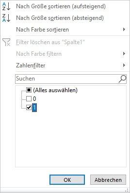 Zellen in Excel filtern
