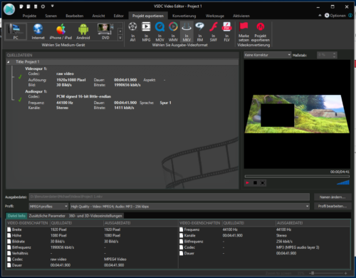 Exportfunktionen von VDSC Free Video-Editor