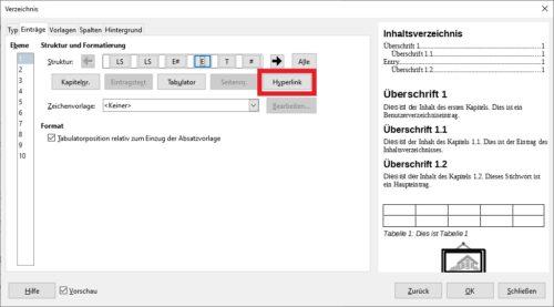 Hyperlink ins Inhaltsverzeichnis einfügen