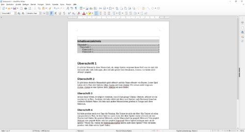 LibreOffice Inhaltsverzeichnis mit Hintergrundfarbe