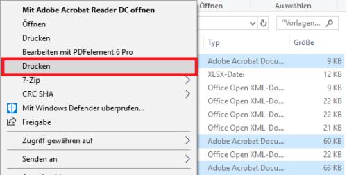 Mehrere PDF über Kontextmenü drucken