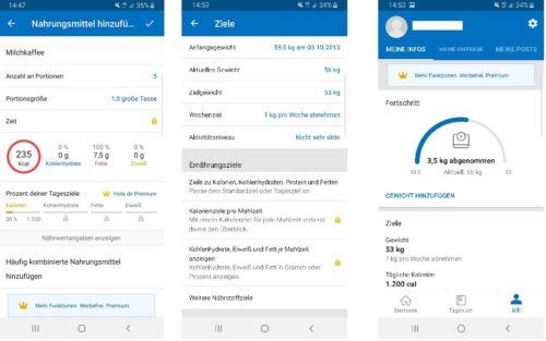 Verschiedenen Screenshots der MyFitnessPal Ernährungs App