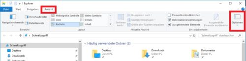 Optionen im Windows Explorer