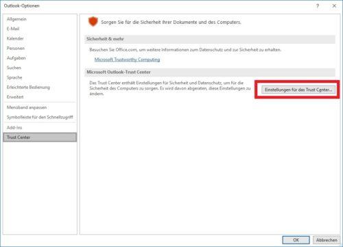 Outlook Mail verschlüsseln: Die Einstellungen für das Trust Center in Outlook
