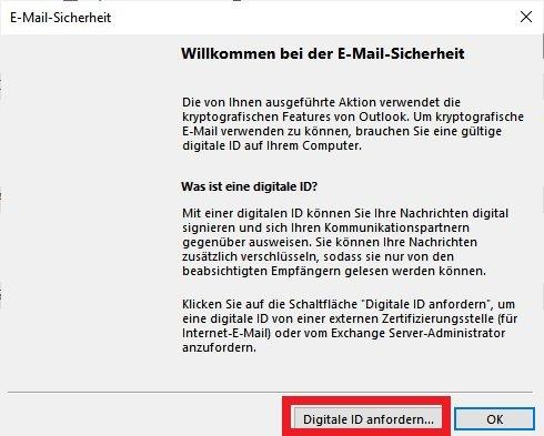 Outlook Mail verschlüsseln: Digitale ID anfordern