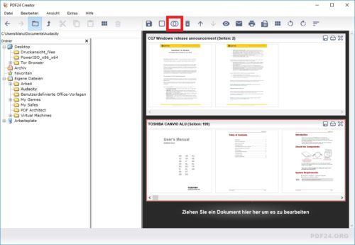 Mehrere Dateien im PDF24 Creator zusammenfügen