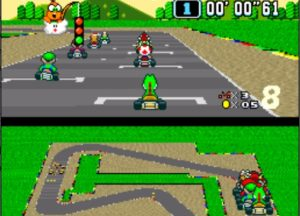 Screenshot von Super Mario Kart aus Snes9x