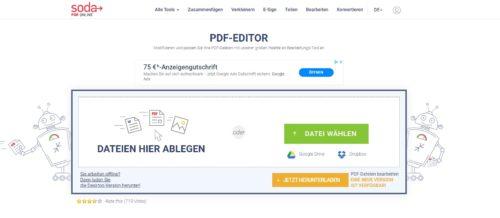 Startseite von Soda PDF Online