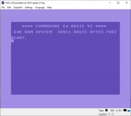 Commodore 64 BASIC V2 im Vice Emulator
