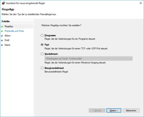 Assistent für neue eingehende Regel in der Windows Defender Firewall
