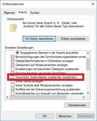 ntuser.dat einblenden: Die Ordneroptionen unter Windows 10