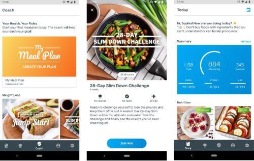 Verschiedenen Screenshots der Yazio Ernährungs App