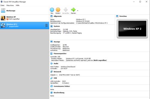 Anpassung von VirtualBox