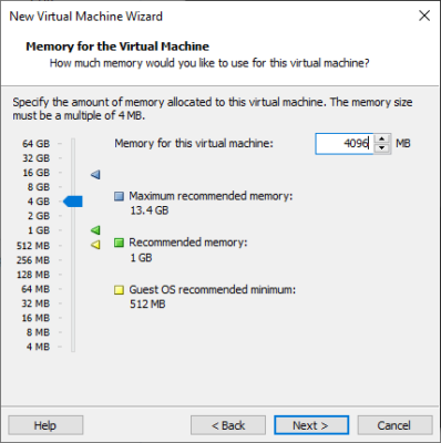 Anpassbare Speicherbelegung in VMWare Workstation