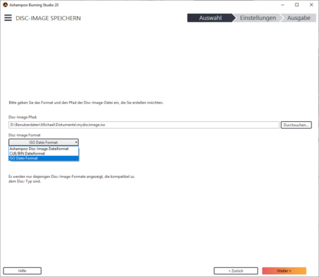 Ashampoo Burning Studio ISO Datei Format