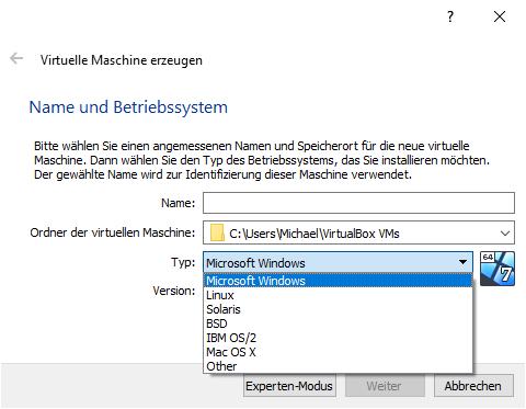 VirtualBox vs Vmware: Auswahl der Betriebssysteme in VirtualBox