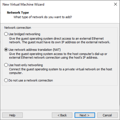 Auswahl von Netzwerkverbindungen in VMWare