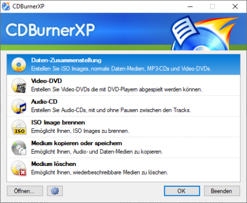 CDBurnerXP erstellt ISO-Images