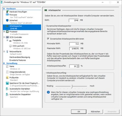 Einstellungen für eine VM in Hyper-V