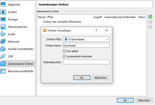 Gemeinsamer Ordner in VirtualBox