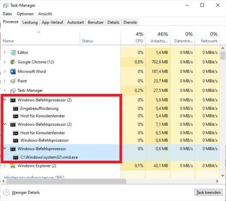 Mehrfacher conhost.exe-Prozess im Task-Manager von Windows 10