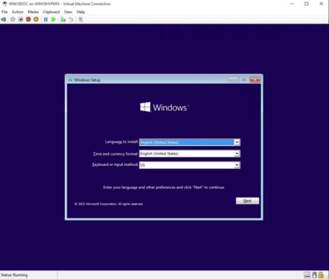 Hyper-V führt Windows 10 aus
