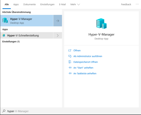 Hyper-V  Manager in Windows 10