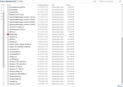 Sammlung von erstellten ISO-Dateien im Netzwerk