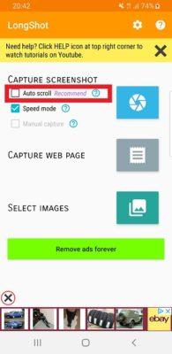 Startseite der LongShot App für Android
