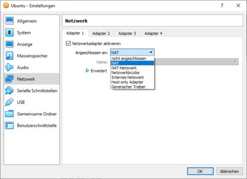 Netzwerk von VirtualBox