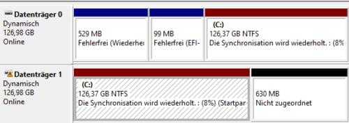 Synchronisationsstatus für den Software-RAID