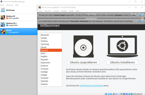 Ubuntu in VirtualBox als Live-System